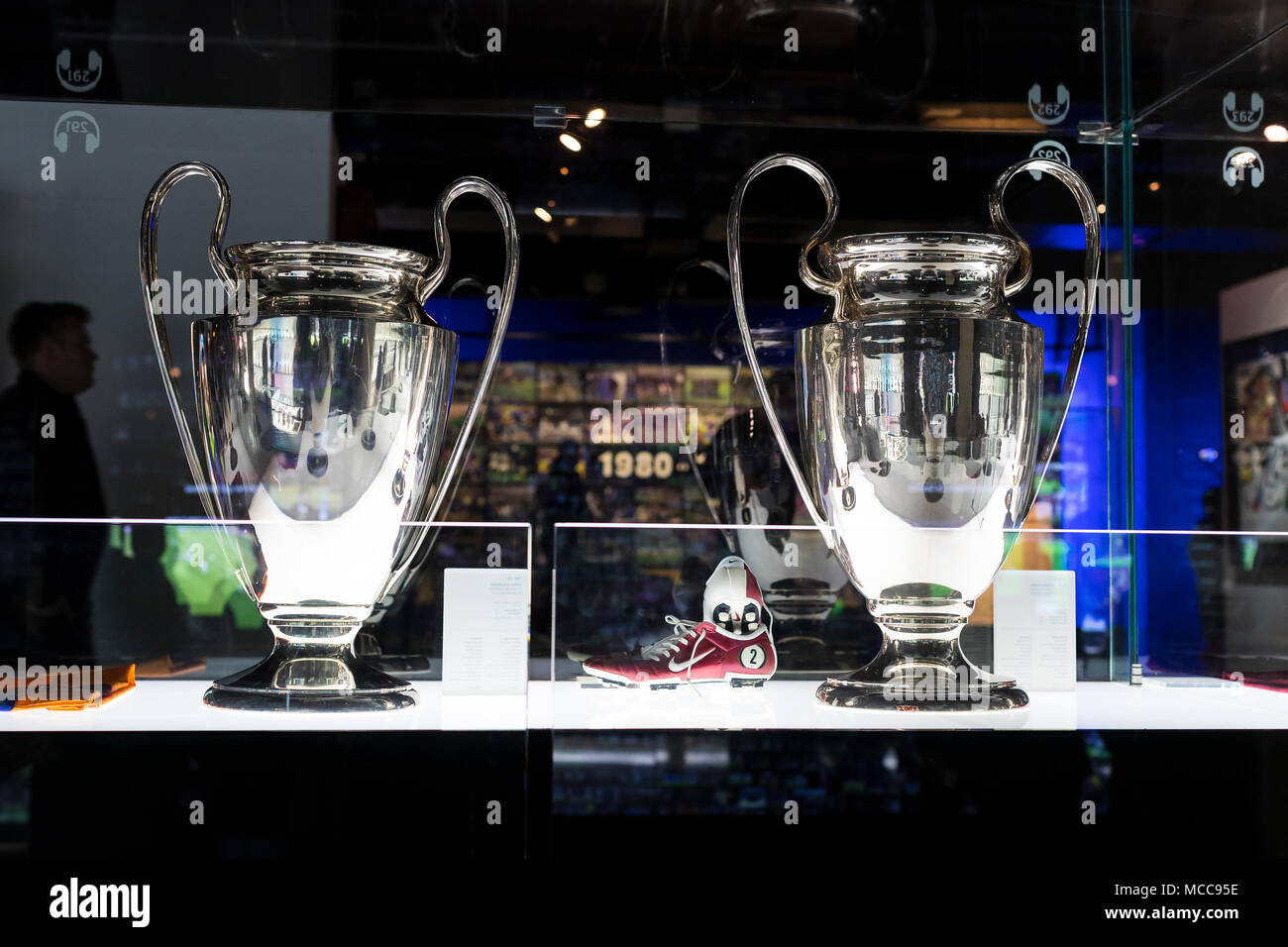BARCELONA, SPAIN - 12 JANUARY 2018: The museum of trophies of the cups and awards of the team FC Barcelona in the of Camp Nou. - Stock Image