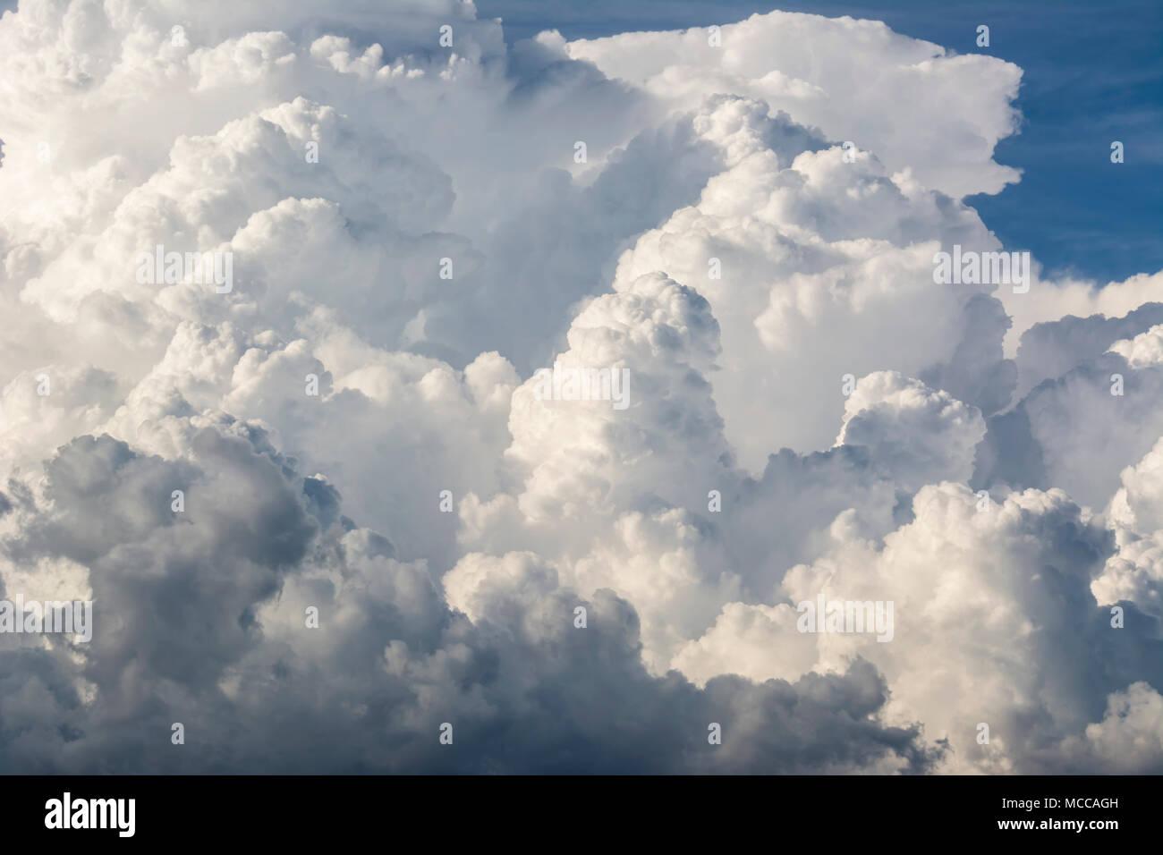 Clouds storm, cumulonimbus clouds, Rapid vertical growth mature thunderstorm - Stock Image