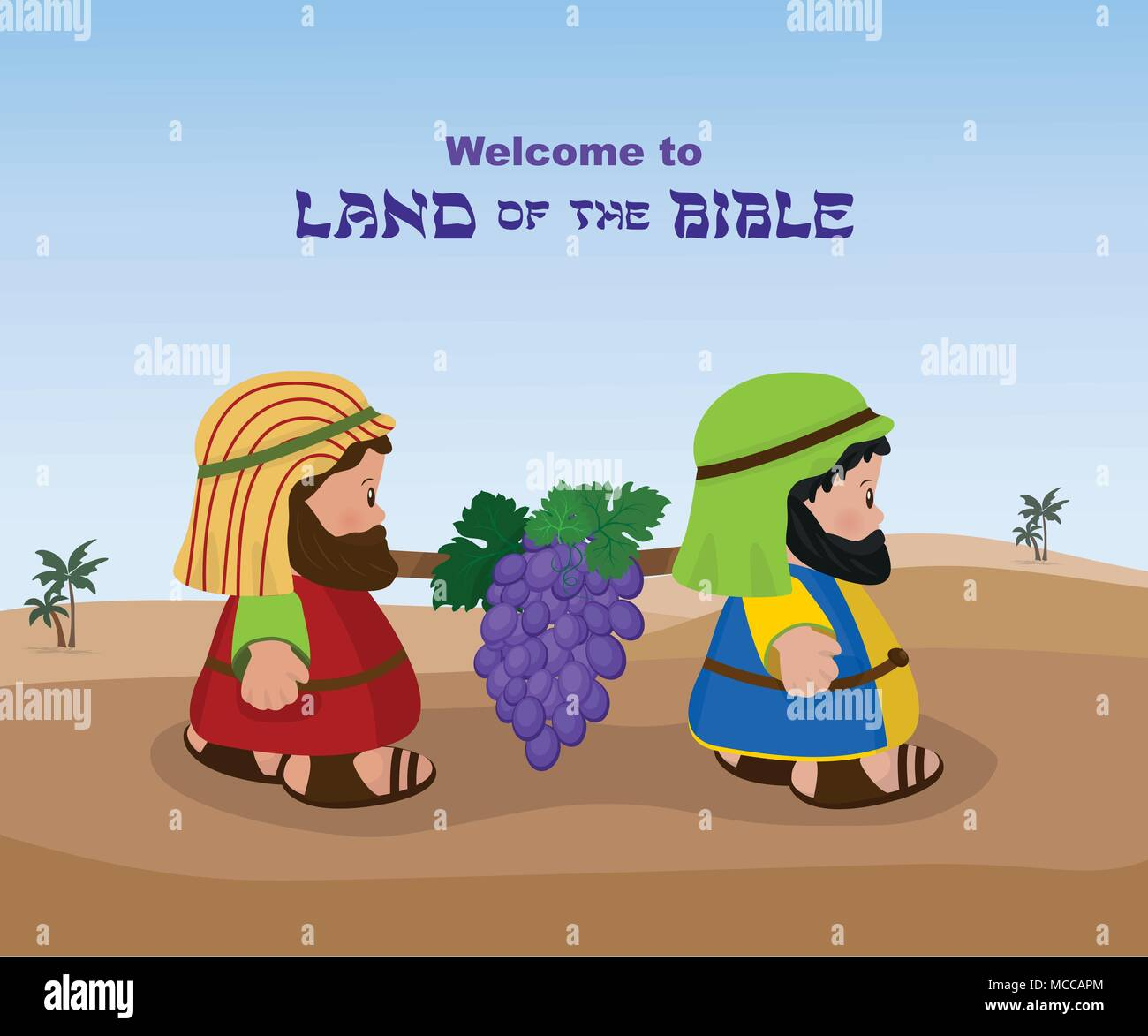 Two spies of israel carrying grapes - Stock Vector