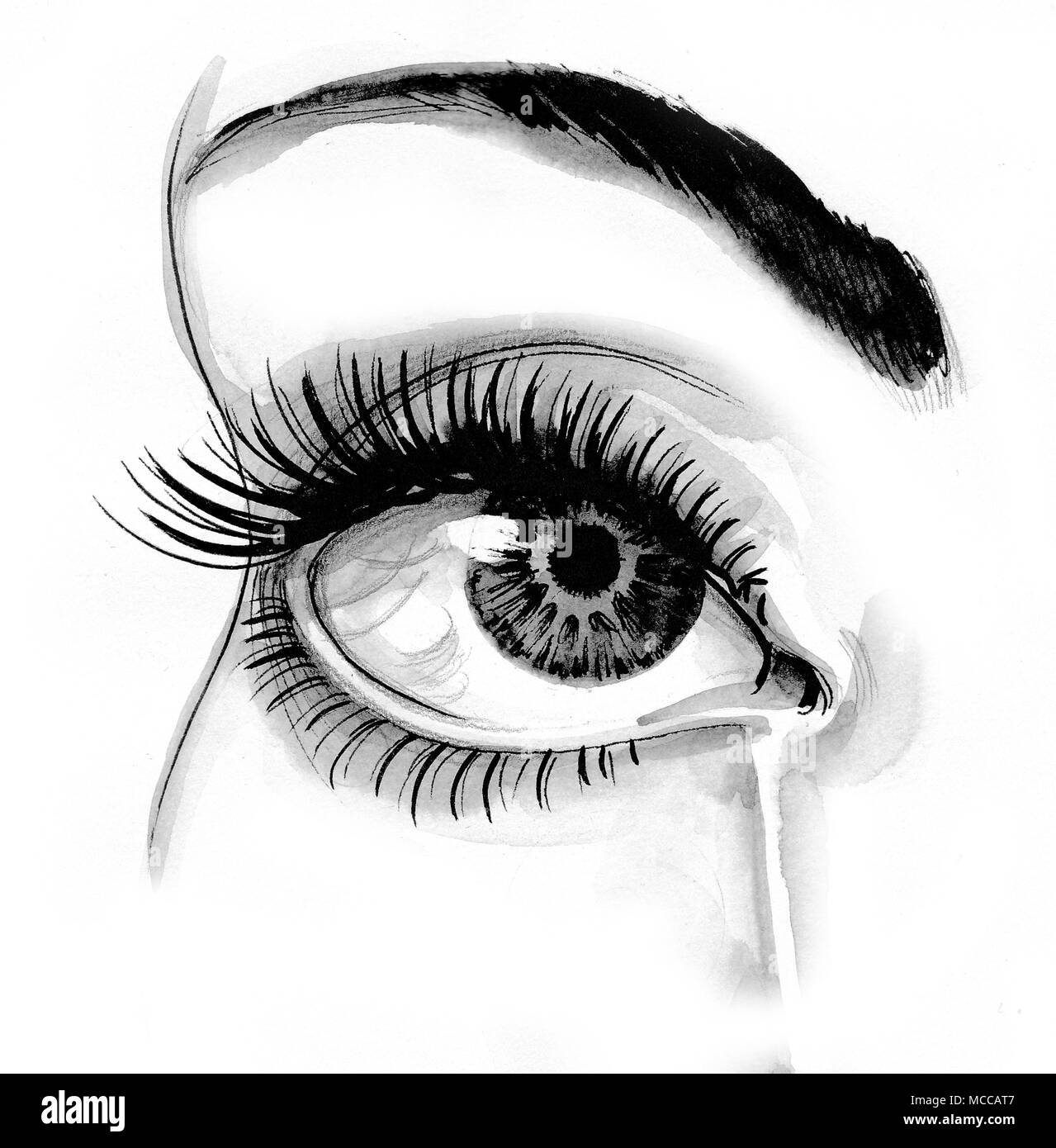 Beautiful crying female eye ink black and white drawing