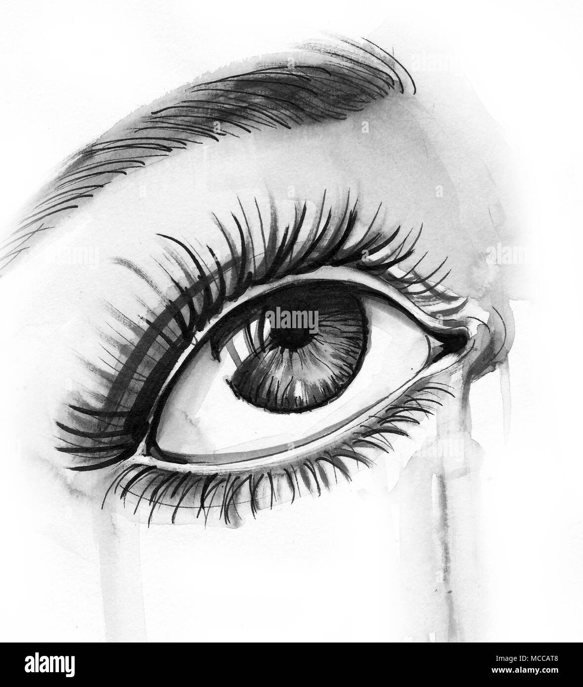Crying eye ink black and white drawing stock photo