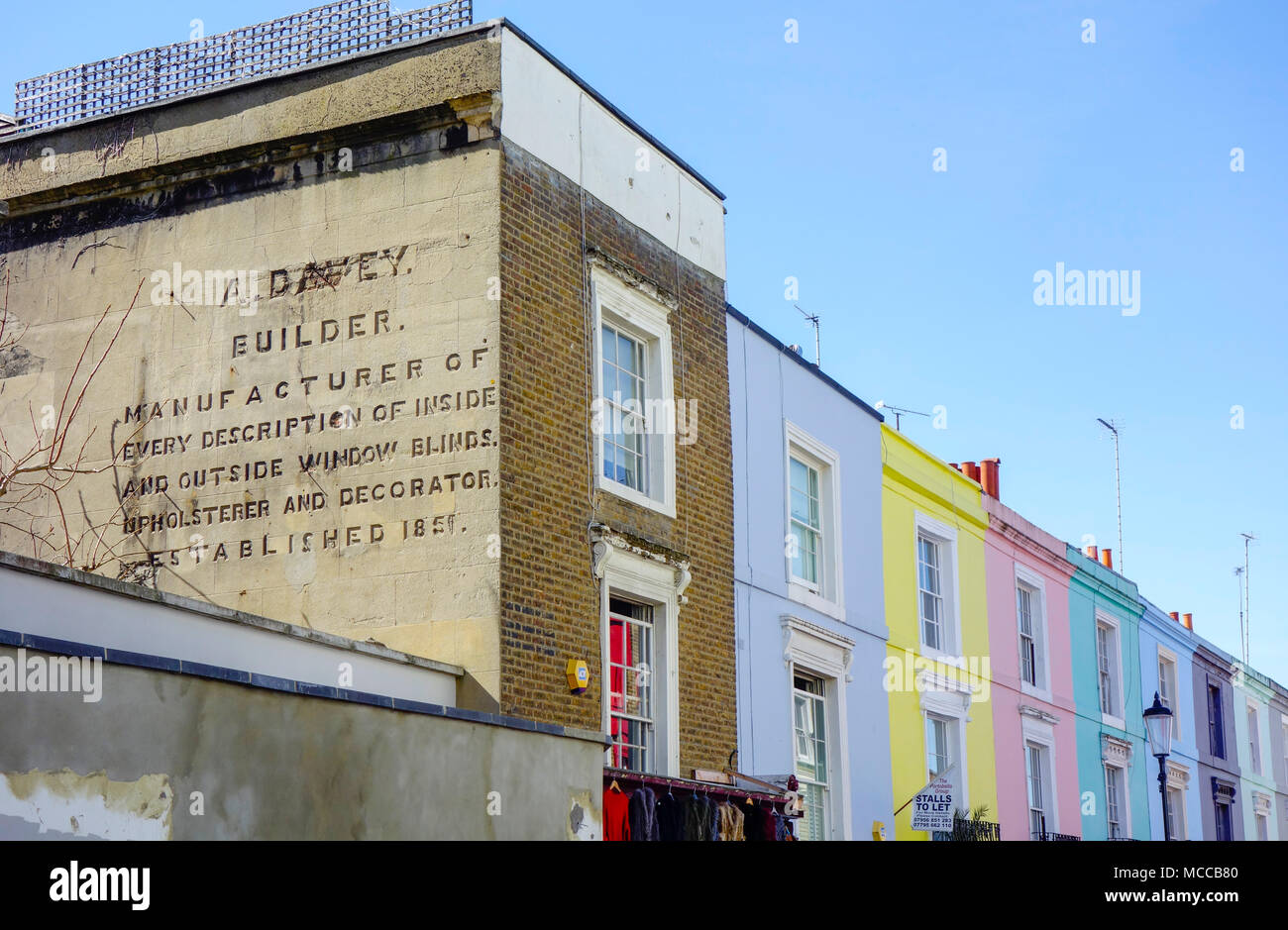Colourful Houses in Notting Hill, London, UK. - Stock Image