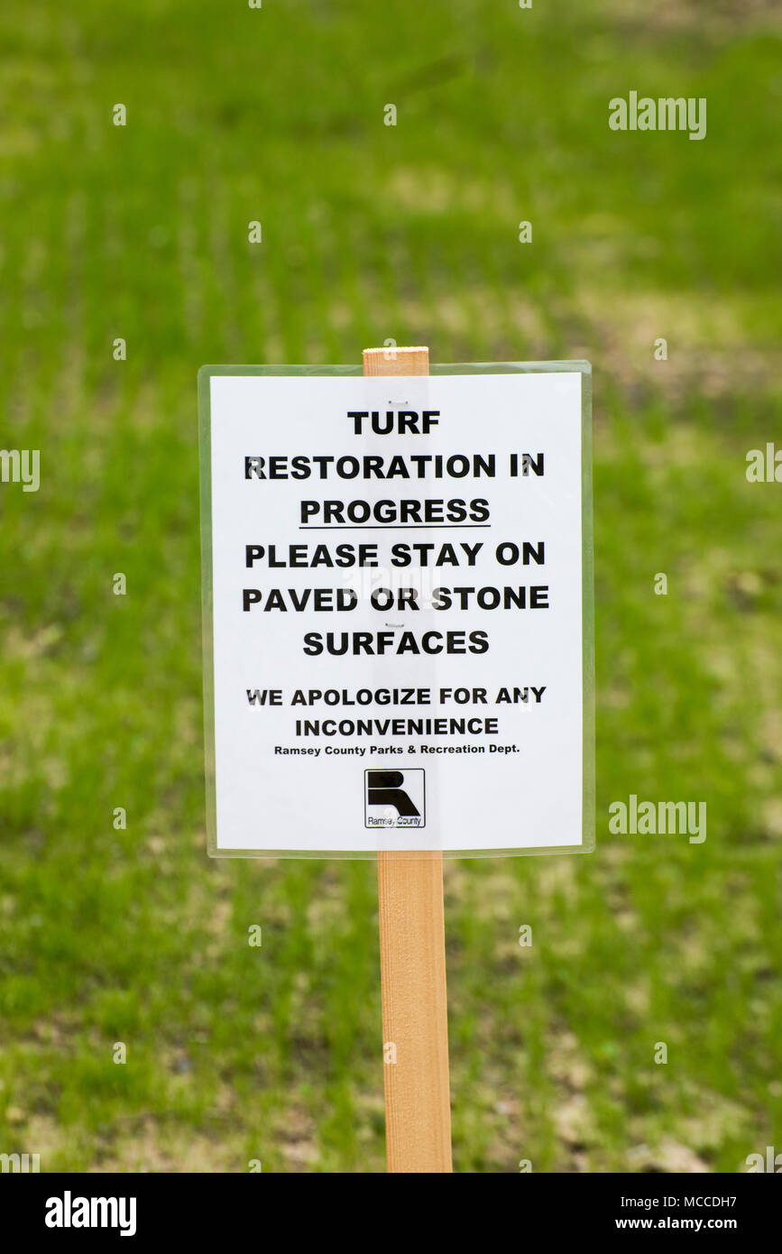 Vadnais Heights, Minnesota. Vadnais Lake Regional Park.  Turf restoration project to restore the grass in the park. - Stock Image