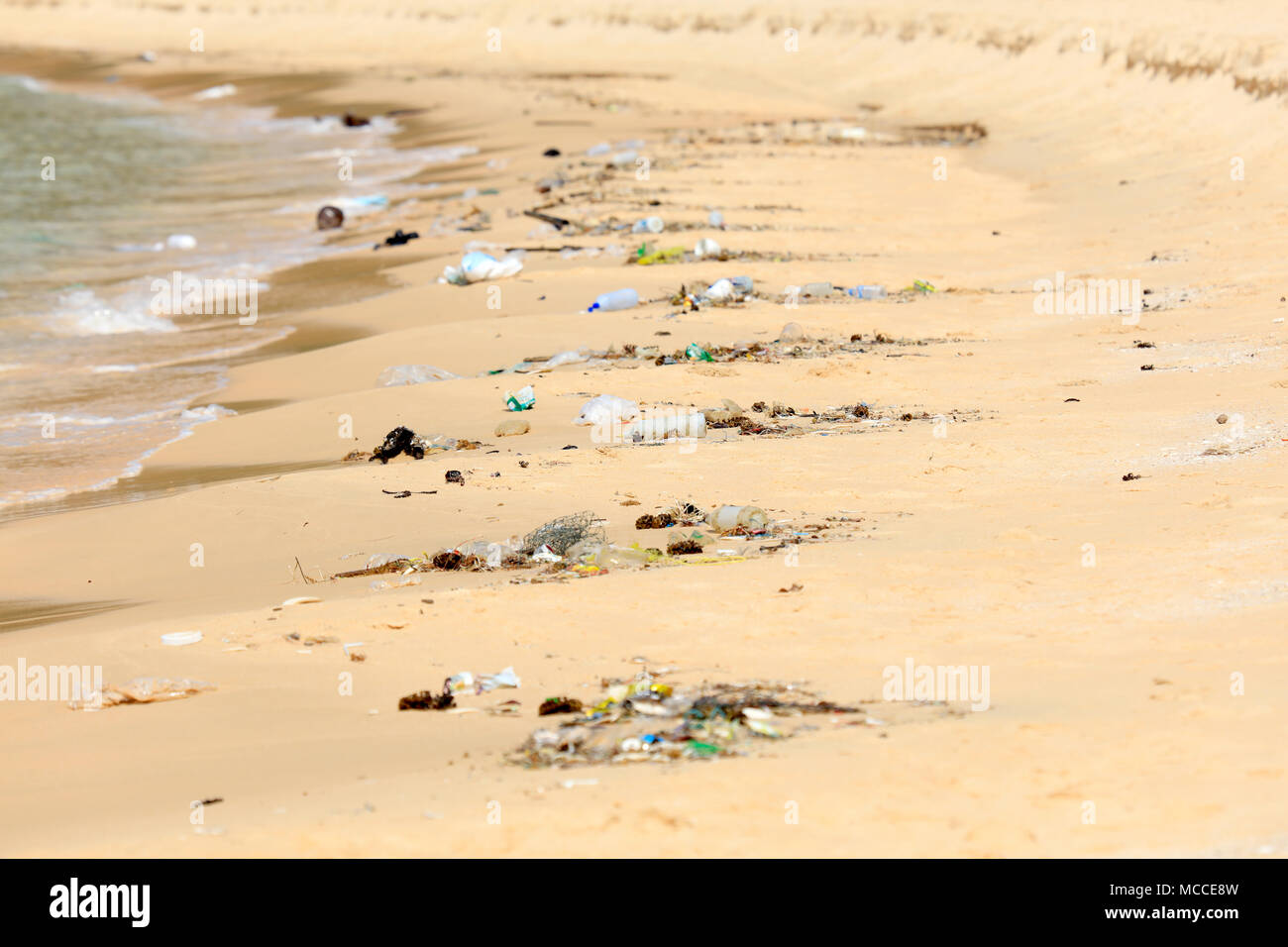 Plastic pollution on a tourist beach in Cambodia - Stock Image