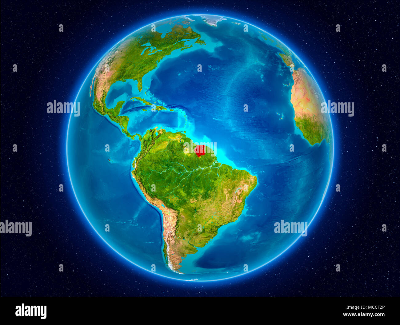 Suriname in red from Earth's orbit. 3D illustration. Elements of this image furnished by NASA. - Stock Image