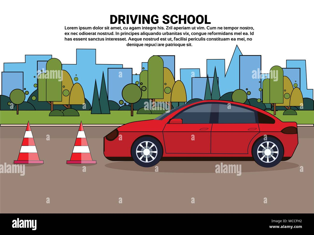 Driving School Banner, Vehicle On Road, Auto Drive Education