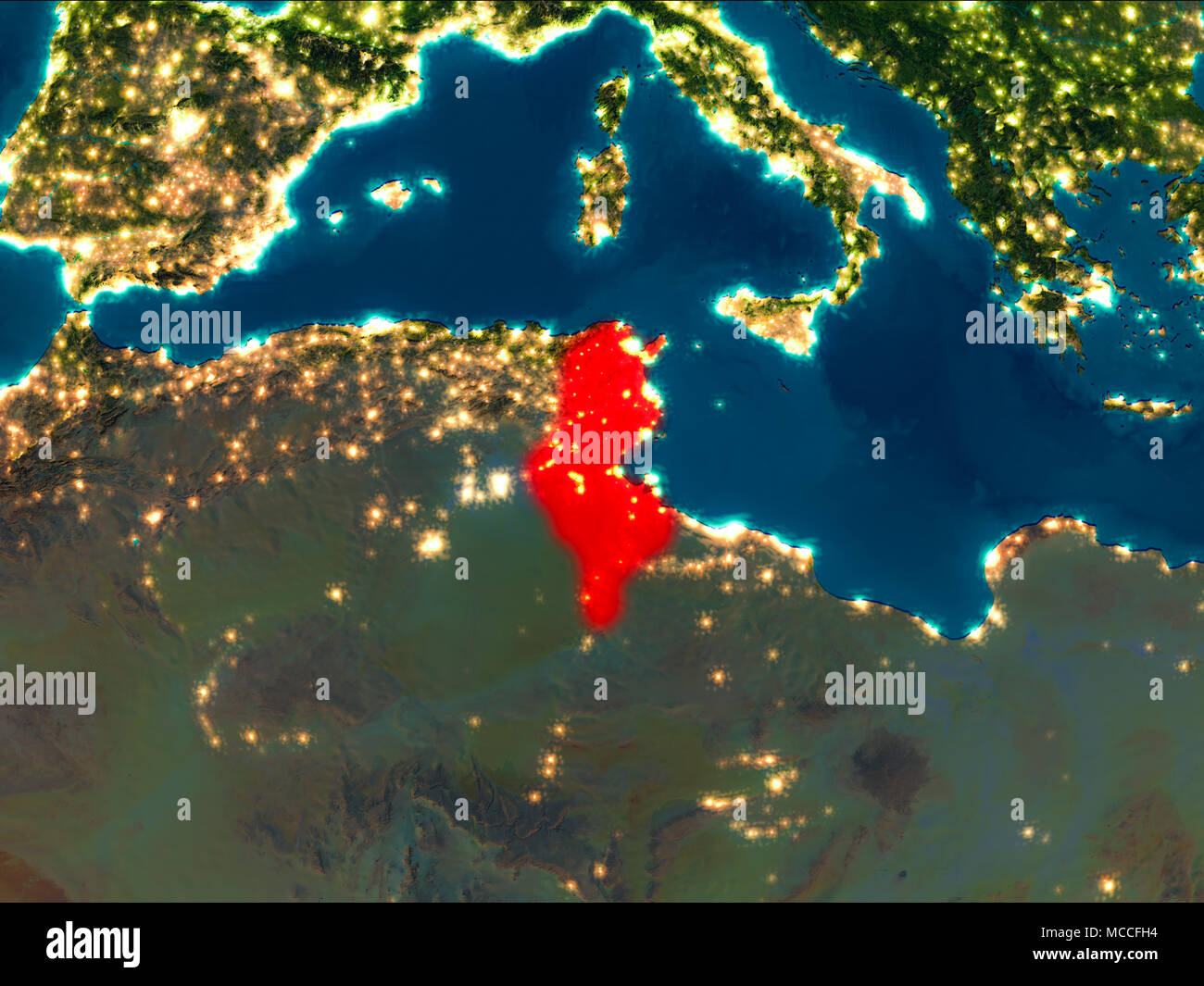 Picture of: Satellite Night View Of Tunisia Highlighted In Red On Planet Earth 3d Illustration Elements Of This Image Furnished By Nasa Stock Photo Alamy