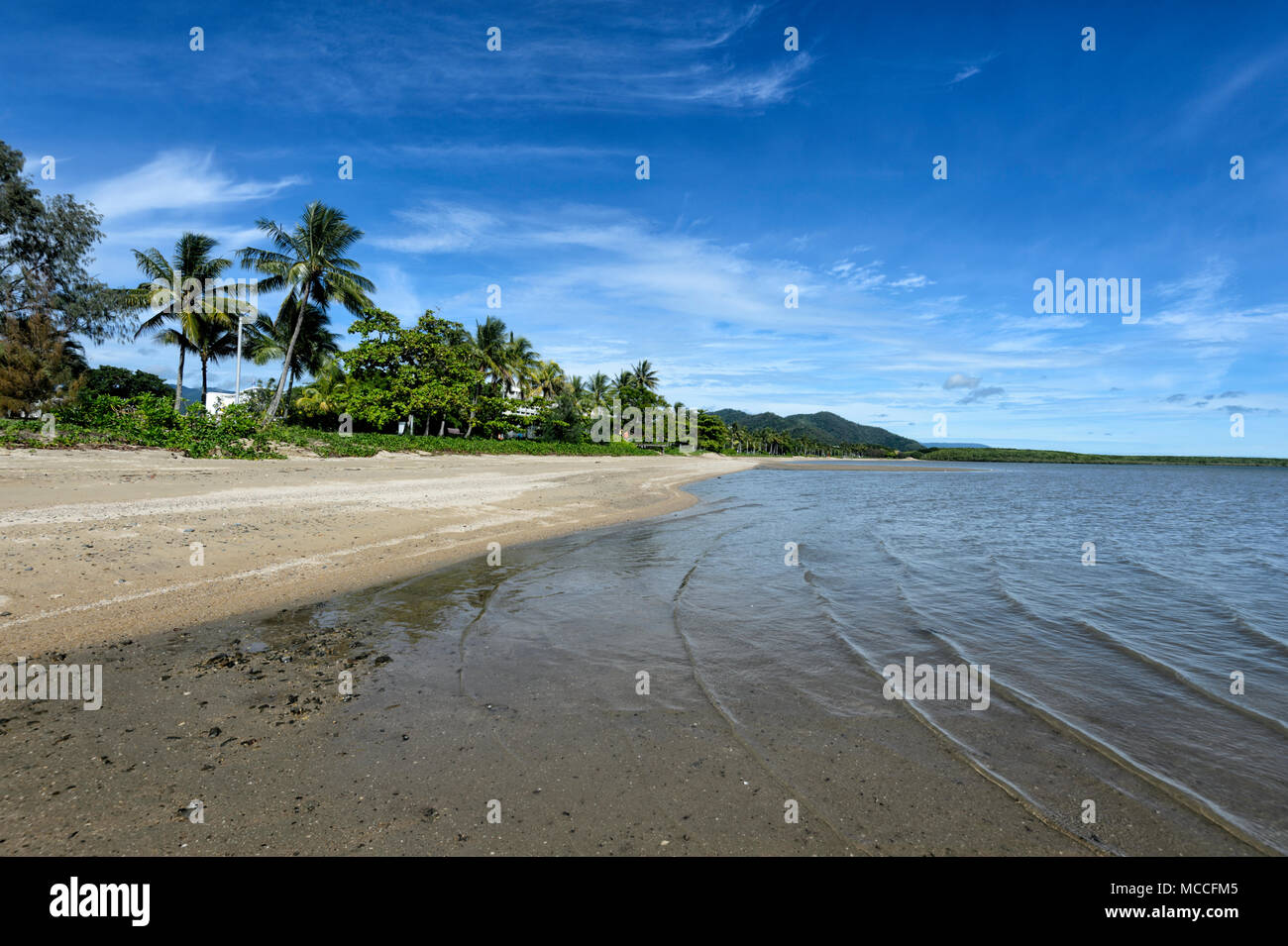 Sandy beach in Cairns centre, Far North Queensland, FNQ, QLD, Australia - Stock Image