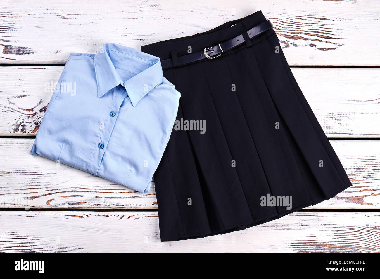 00c098ee36 Elegant cotton shirt and skirt. Girls new buttoned blue shirt and pleated  skirt with belt