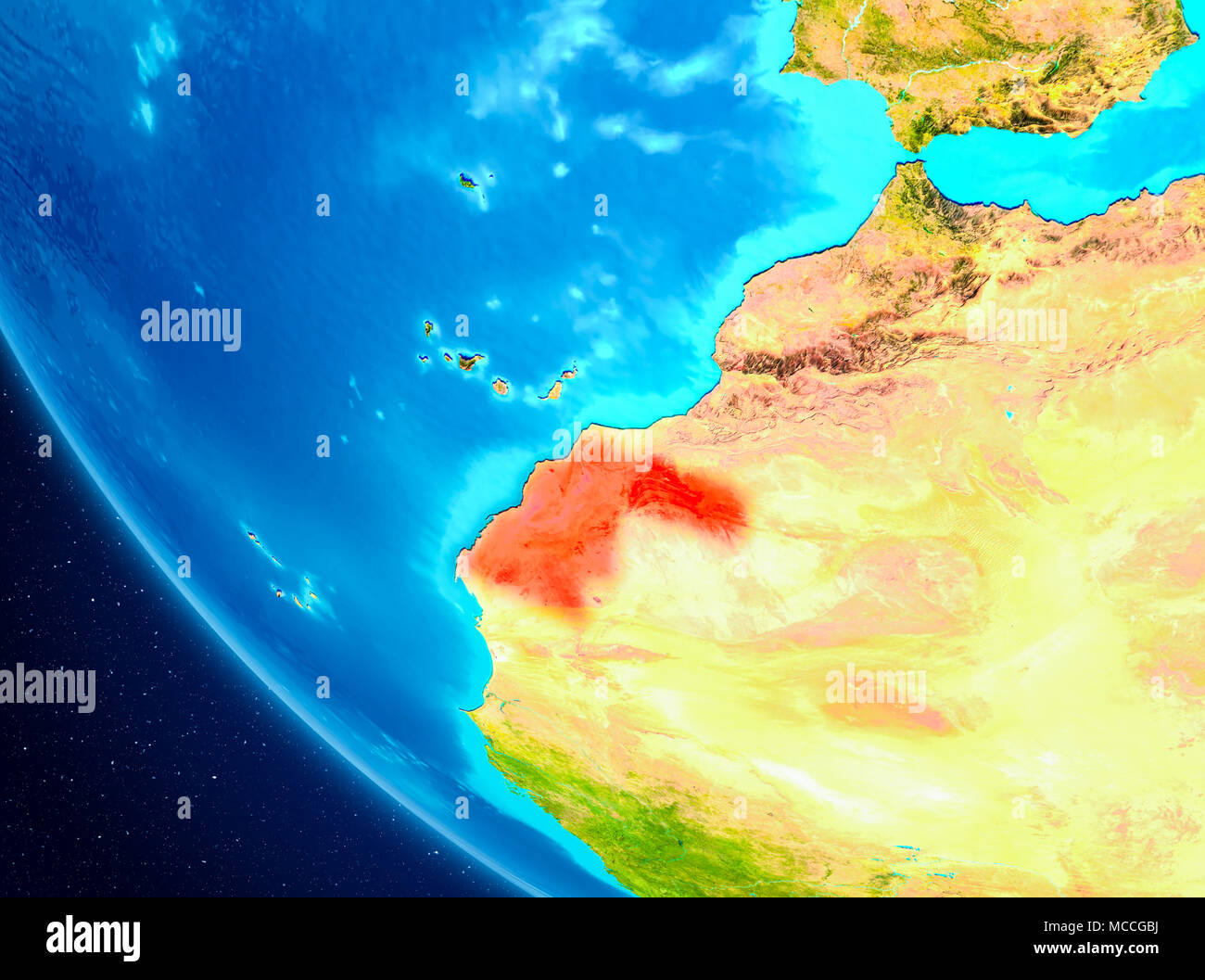 Western Sahara highlighted in red on planet Earth. 3D illustration. Elements of this image furnished by NASA. - Stock Image
