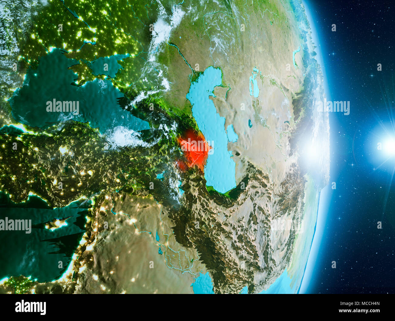 Azerbaijan from orbit of planet Earth with clouds during sunrise with highly detailed surface textures. 3D illustration. Elements of this image furnis - Stock Image