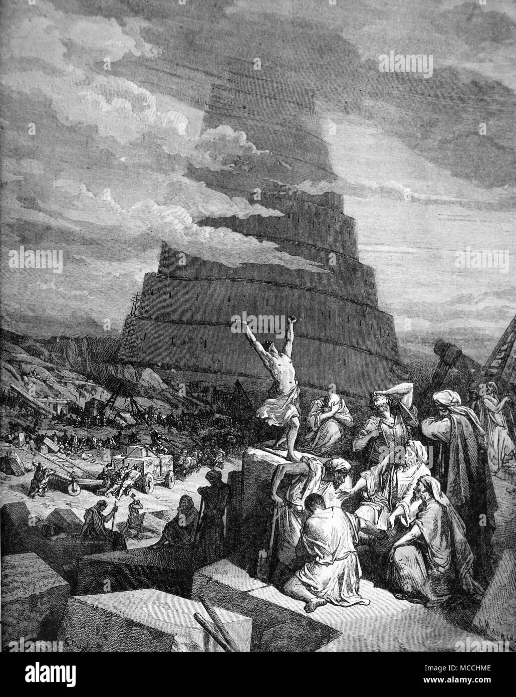 The Confusion of Tongues. bible illustration by Gustave Doré. - Stock Image