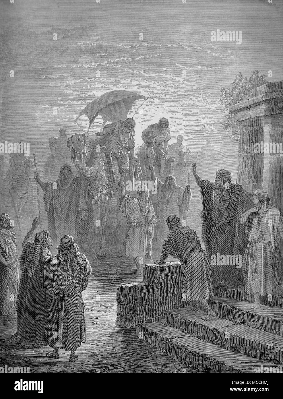 The Meeting of Isaac and Rebecca. Bible illustration by Gustave Doré. - Stock Image