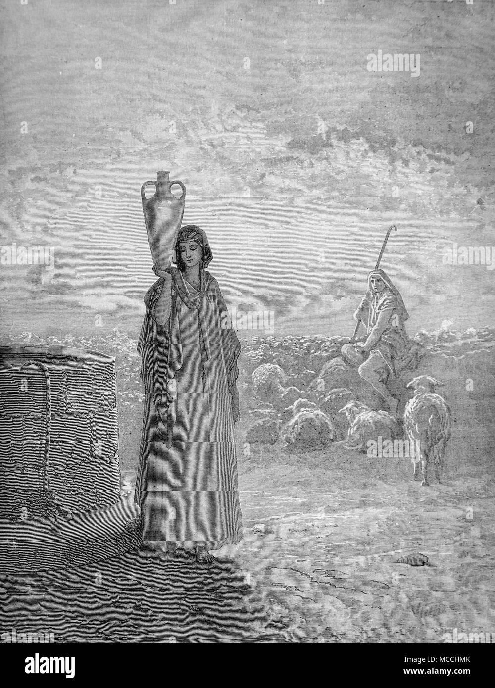 Jacob keeping Laban's Flocks. Illustration by Gustave Doré. - Stock Image