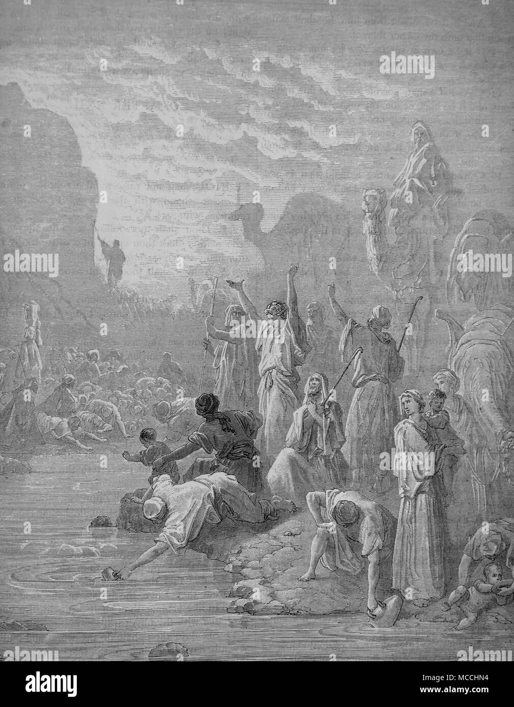 Moses striking the rock in Horeb. Bible illustration by Gustave Doré. - Stock Image