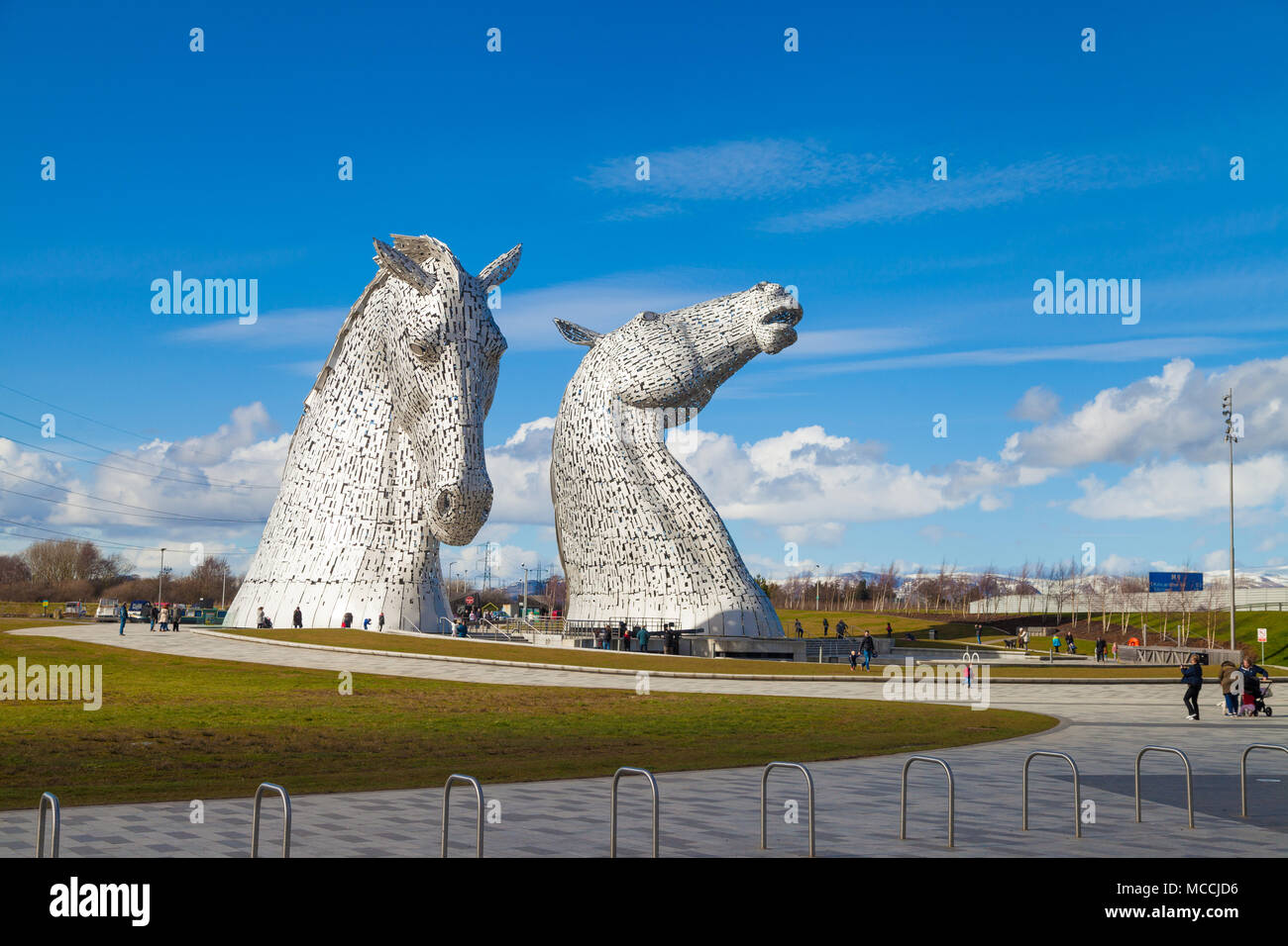 The Kelpies 30-metre-high horse-head sculptures at the Helix centre near Falkirk Scotland - Stock Image
