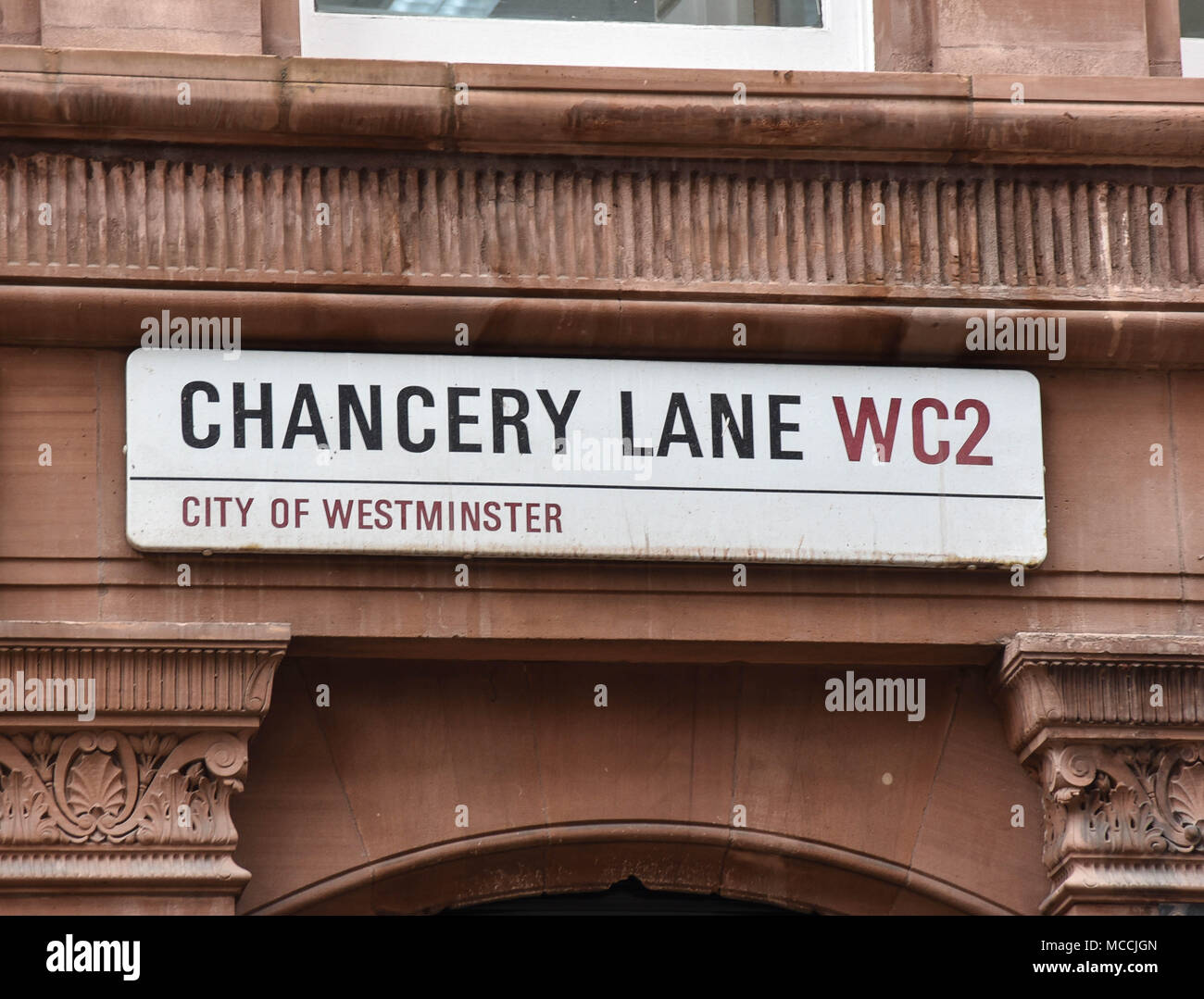 road sign for chancery lane , london - Stock Image