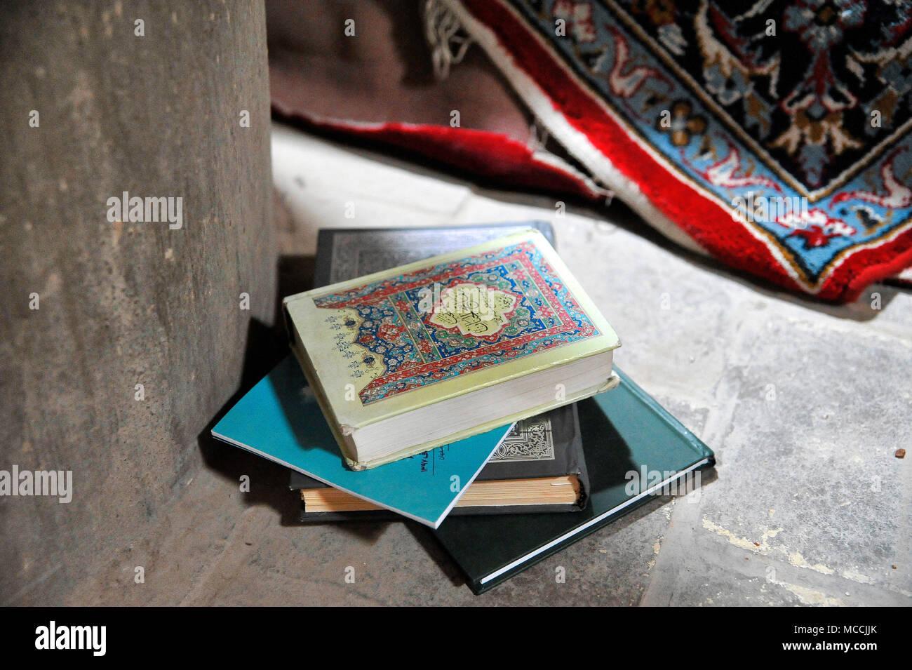 Koran at Majed-e Emam, Imam Mosque, Isfahan, Iran - internal setting - Stock Image