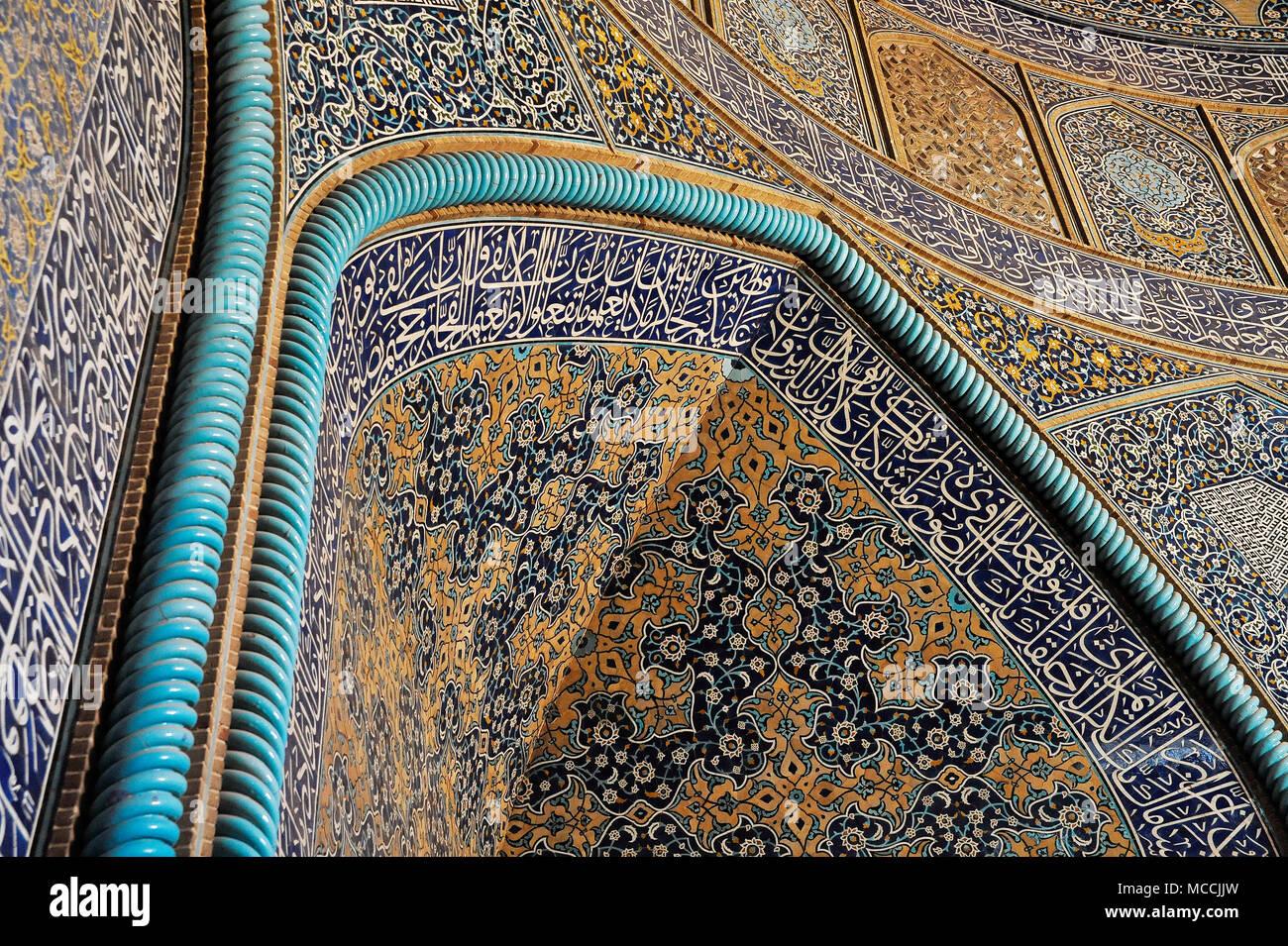 Sheikh Lotfollah mosque, detail of mosaics - Isfahan, Iran - Stock Image