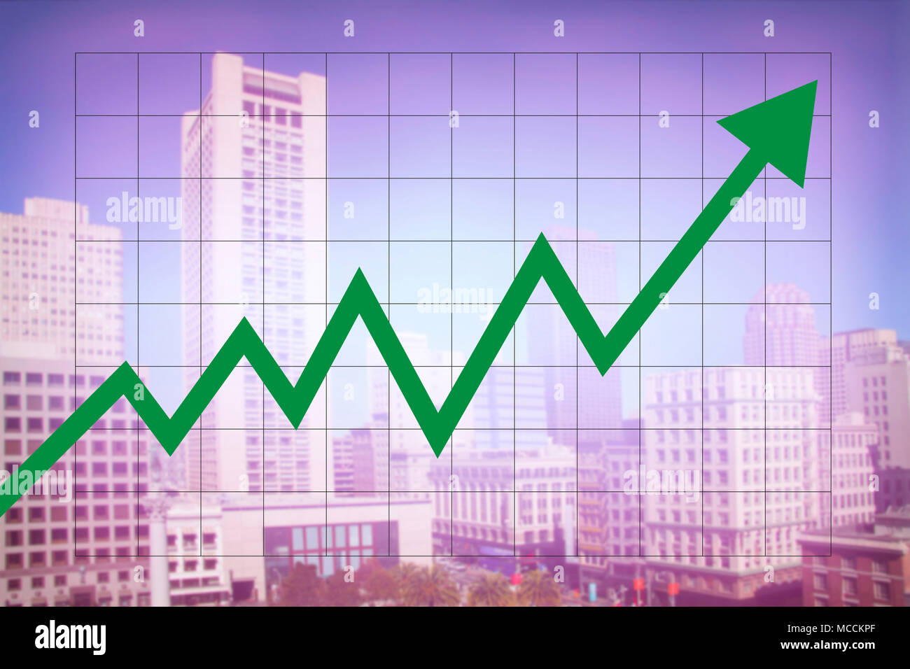Real estate market economy with increasing graph and green arrow going up with colorful blurred cityscape background - Stock Image