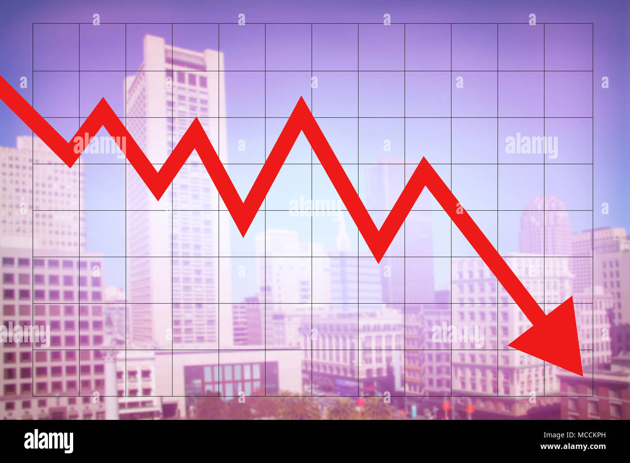 Real Estate Market Economy With Decreasing Graph And Red Arrow Going Down With Colorful Blurred Cityscape Background Stock Photo Alamy