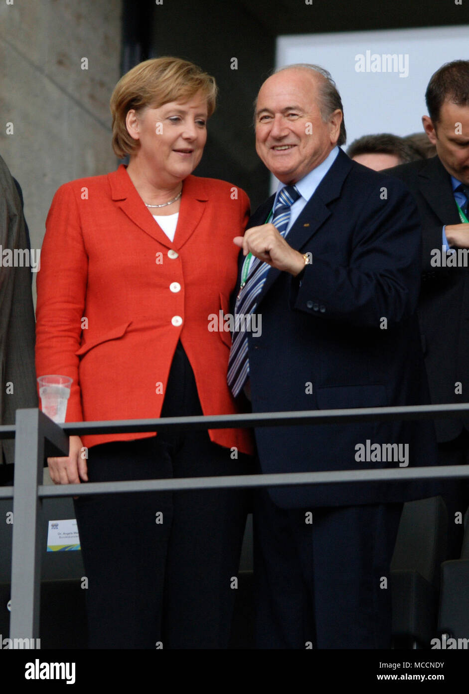 Olympiastadion  Berlin Germany, 30.6.2006, FIFA World Cup Quarter-Finals, Germany vs Argentina 4:2 after penalties --- German Chancellor Angela Merkel and president of FIFA Joseph 'Sepp' Blatter (GER) - Stock Image