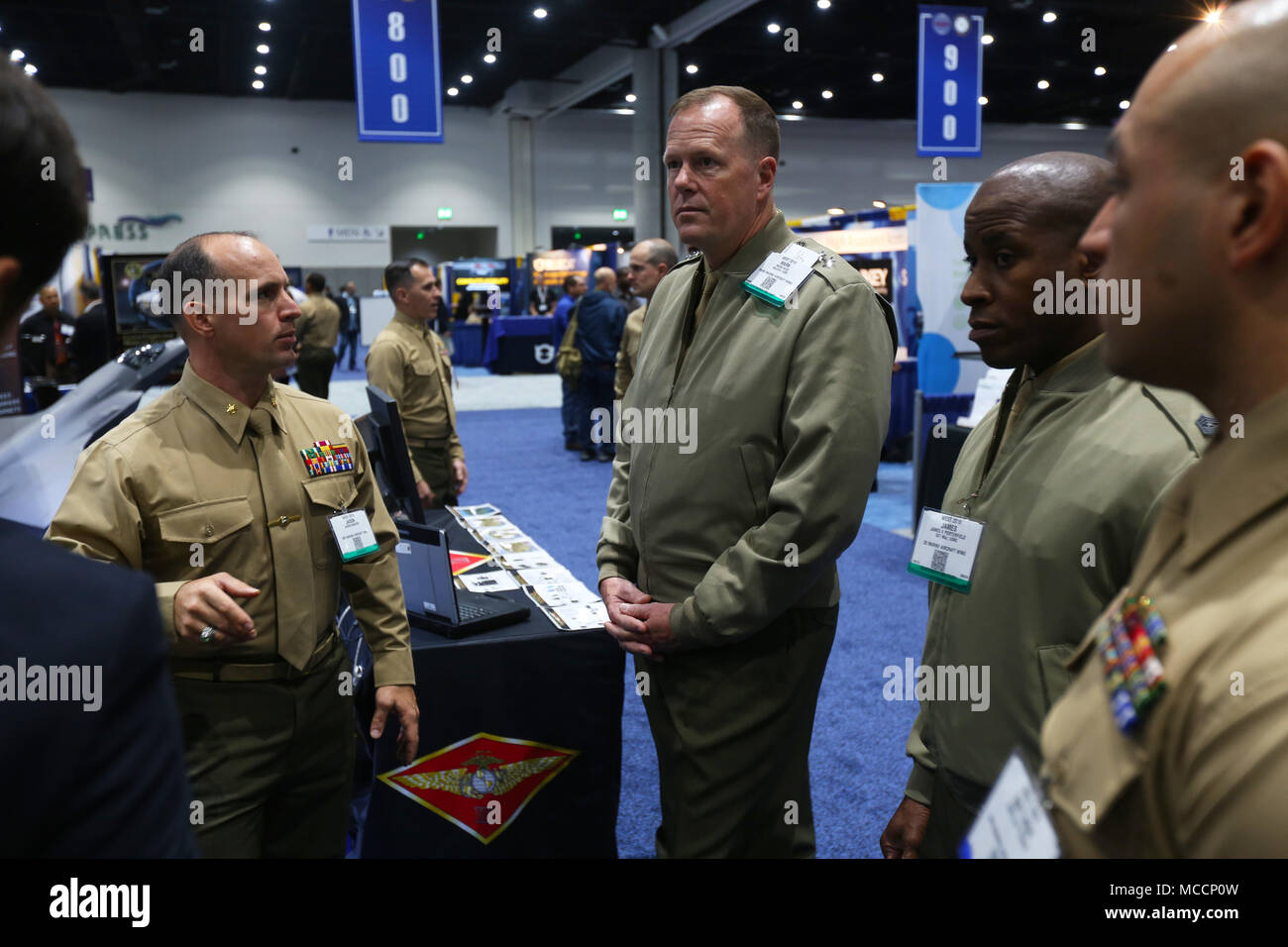 Maj. Gen. Mark R. Wise, 3rd Marine Aircraft Wing (MAW) commanding general, visits the 3rd MAW display at WEST 2018 in San Diego, Feb. 8. WEST 2018 allows innovators, industry leaders and the military the opportunity to network, learn and work together with the goal of meeting and overcoming challenges facing today's Sea Services. (U.S. Marine Corps photo by Sgt. David Bickel/Released) Stock Photo