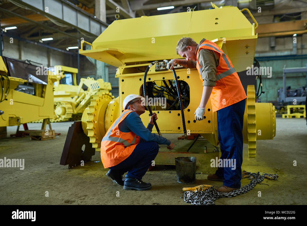 Adjusting Engine Features of Heavy Vehicle - Stock Image