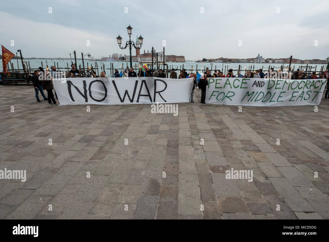 Venice, ITALY. 15 April, 2018. No to the war in Syria: a peaceful demonstration today in Venice of the Social Centers, which marched in Piazza San Marco to support the Syrian people. © Stefano Mazzola/Awakening - Stock Image