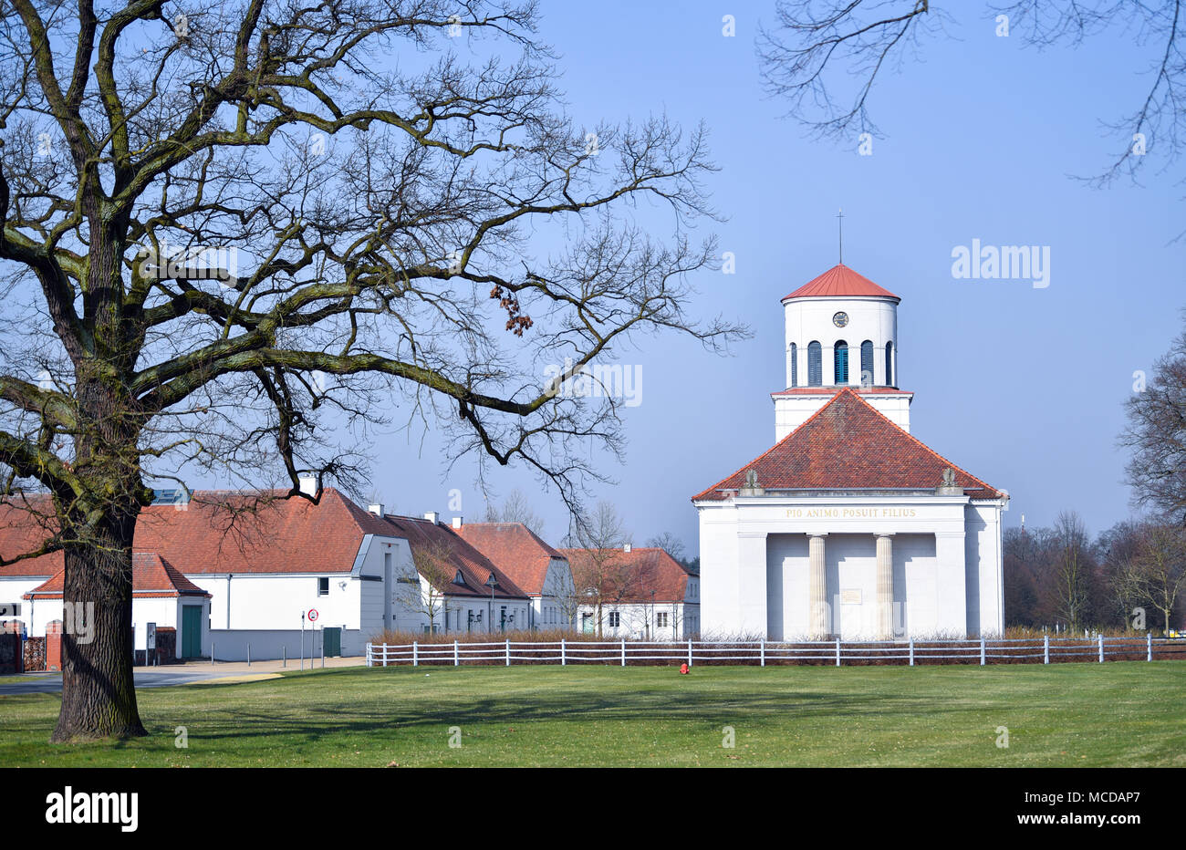 10 April 2018, Germany, Neuhardenberg: A view of the Schinkel church. The town was previoulsy known as Marxwalde after German philosopher, economist and social theorist Karl Marx (May, 05 1818 - March, 14 1883) during the GDR era and renamed to Neuhardenberg after the fall of the Berlin Wall. Photo: Patrick Pleul/dpa-Zentralbild/dpa Stock Photo