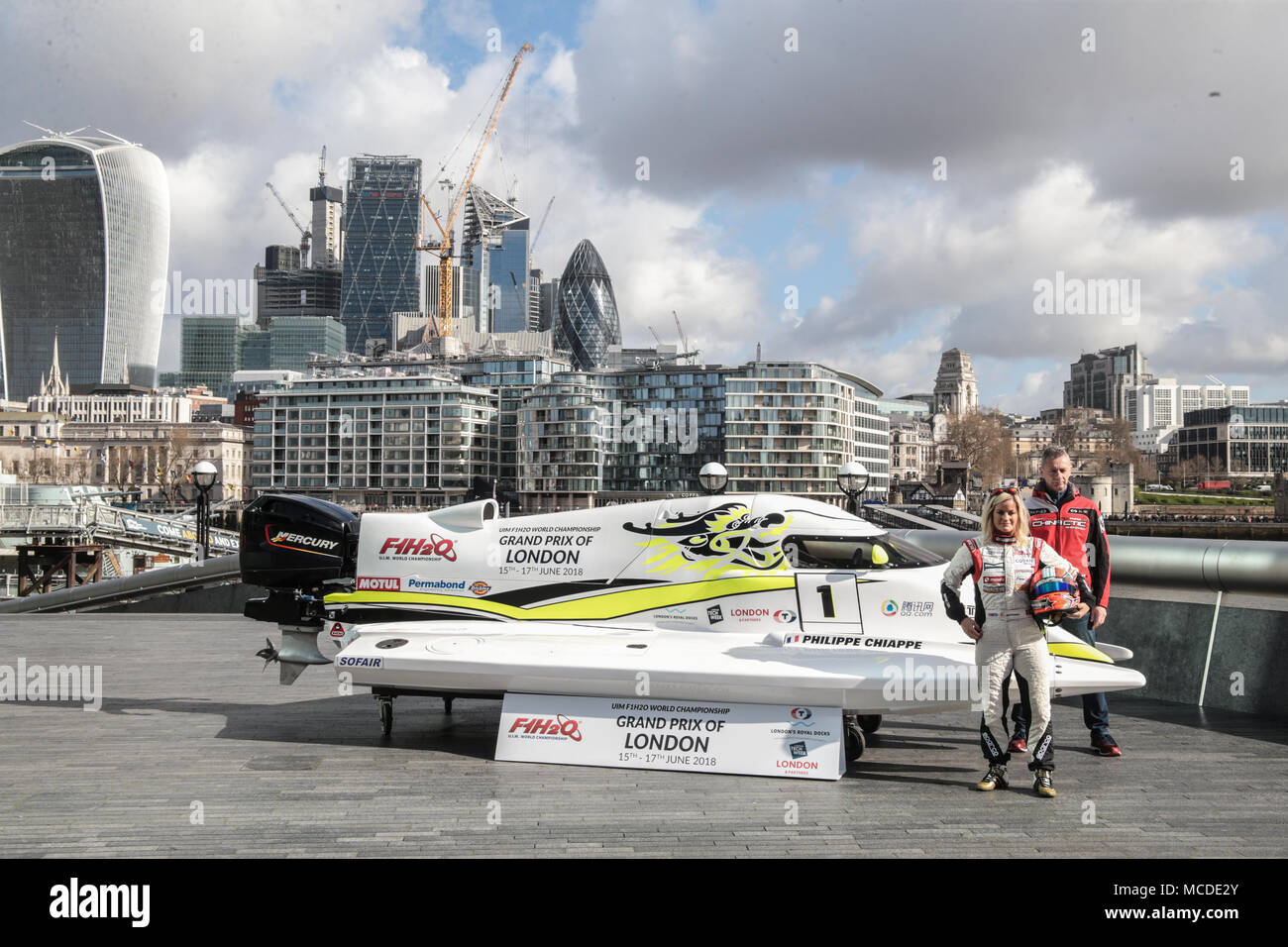 London UK 16 April 2018  Marit Stromoy  Norwegian professional powerboat driver and the first ever woman to win a Formula 1 World Championship Grand Prix in Sharjah, UAE in 2015. Philippe Chiappe – French professional powerboat driver for CTIC F1 Shenzhen China Team, and one of only three drivers to claim a hat-trick of Formula 1 World Championship titles (2014, 2015 & 2016). Credit: Paul Quezada-Neiman/Alamy Live News Stock Photo