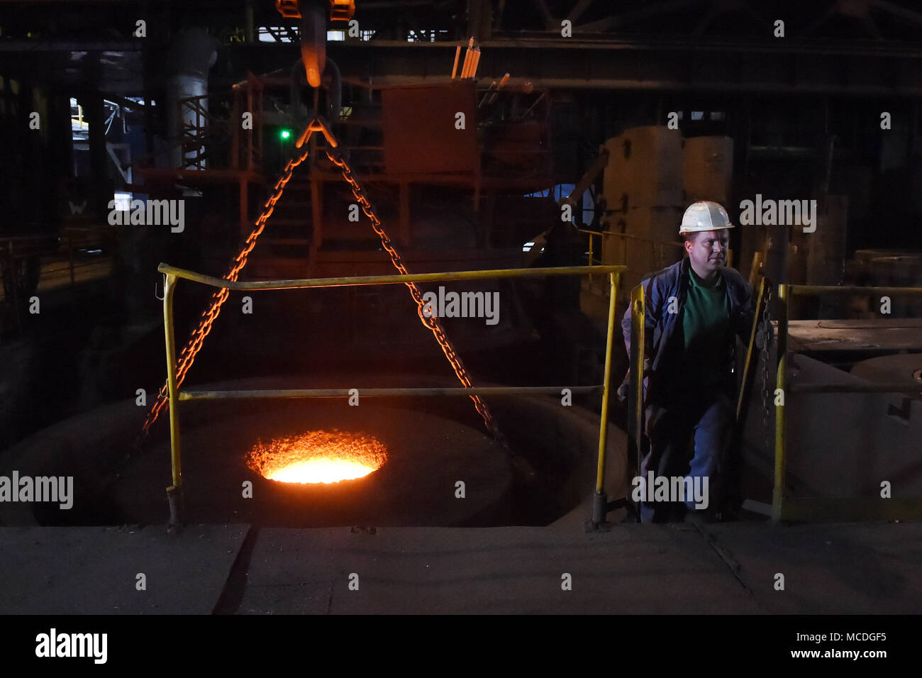 Ostrava, Czech Republic. 16th Apr, 2018. Vitkovice Heavy Machinery (VHM), a unit of Vitkovice Machinery Group of entrepreneur Jan Svetlik, is resuming full production of its steel plant which has been restricted due to a lack of operating capital since mid-January. On the photo is seen a part of the production plant in Ostrava, Czech Republic, on April 16, 2018. Credit: Jaroslav Ozana/CTK Photo/Alamy Live News - Stock Image