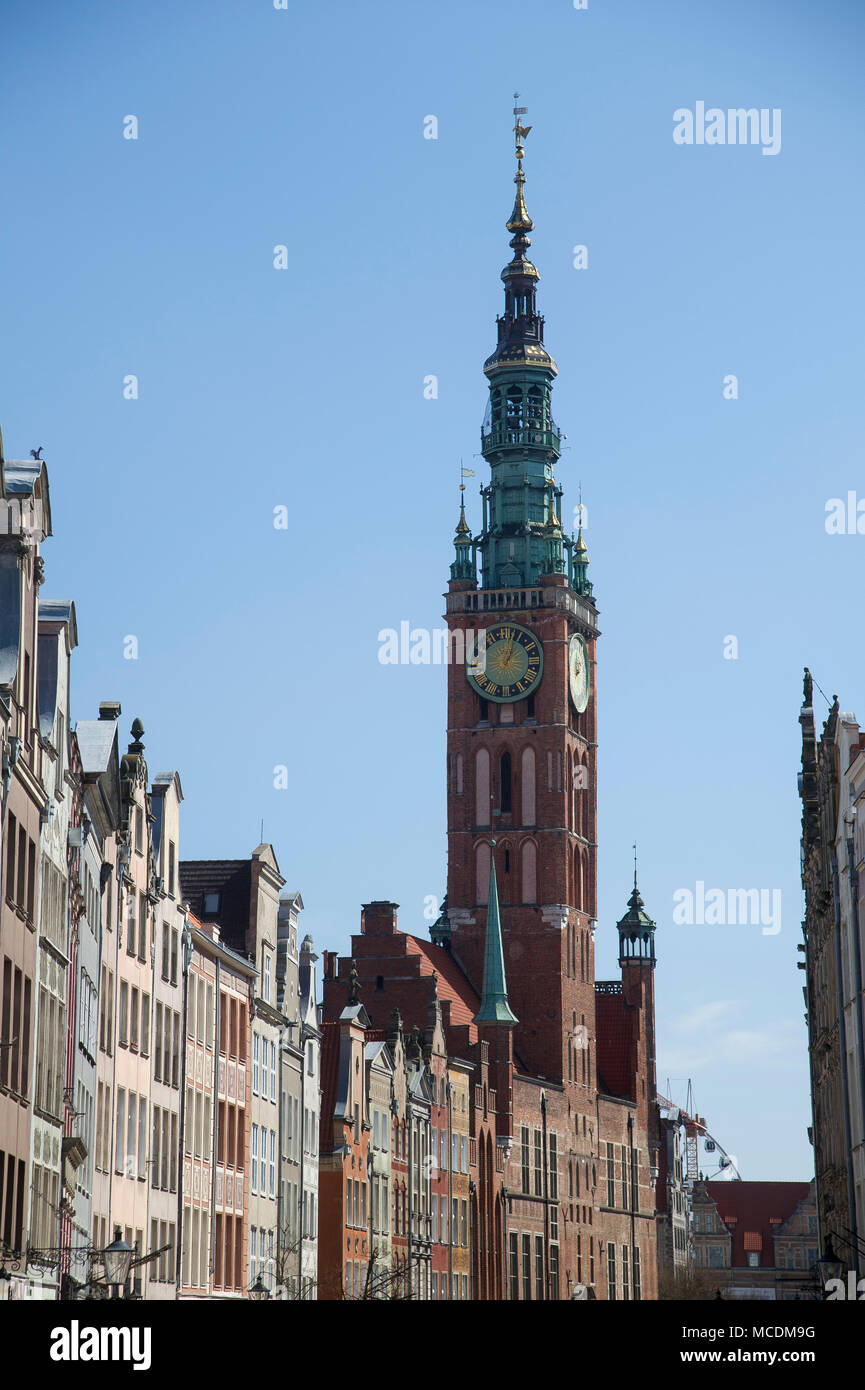 Gothic Gdansk Main Town Hall and Ulica Dluga (Long Lane) in Main City in historic centre of Gdansk, Poland. April 14th 2018 © Wojciech Strozyk / Alamy - Stock Image