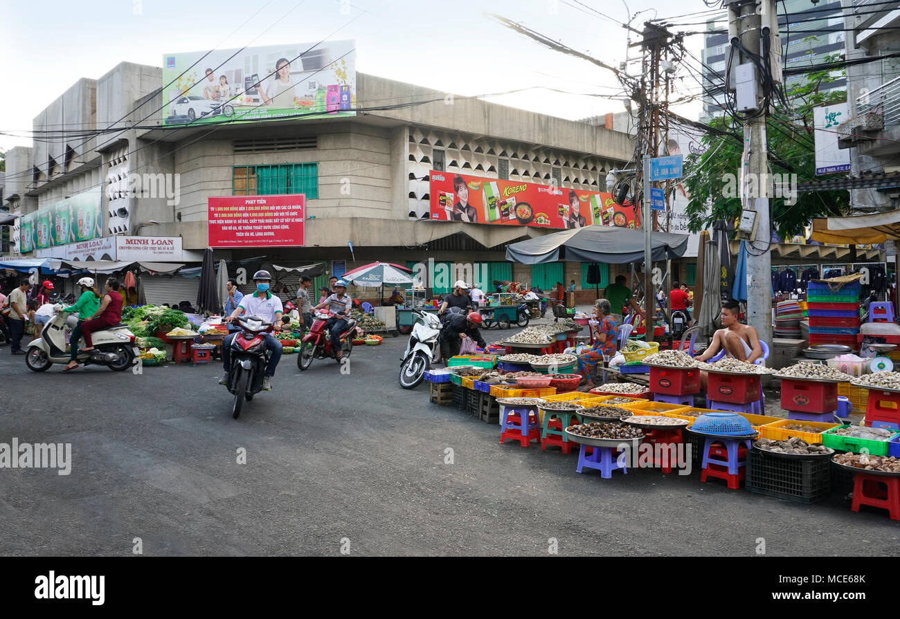 Xóm Chiếu Market area traffic in District 4 in Ho Chi Minh City