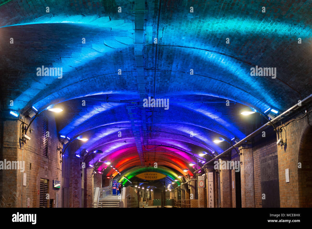 The tunnels under Leeds railway station that are now part of Granary Wharf a new entertainment complex in the heart of Leeds. Stock Photo