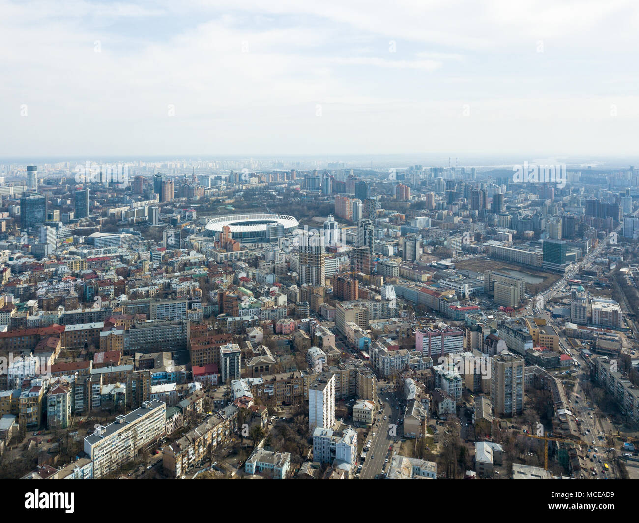 Panoramic View Of The City Kiev With A Sports Complex Olympic Modern Houses And Roads Lots Cars Drone Photography