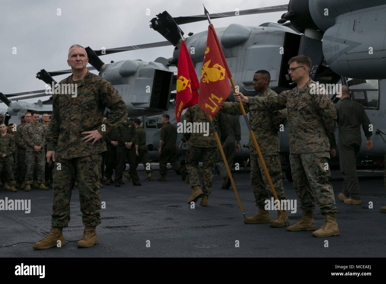 jim lanham sergeant major of the 31st marine expeditionary unit stands before the 31st meu during an all hands formation aboard the uss wasp lhd 1 while