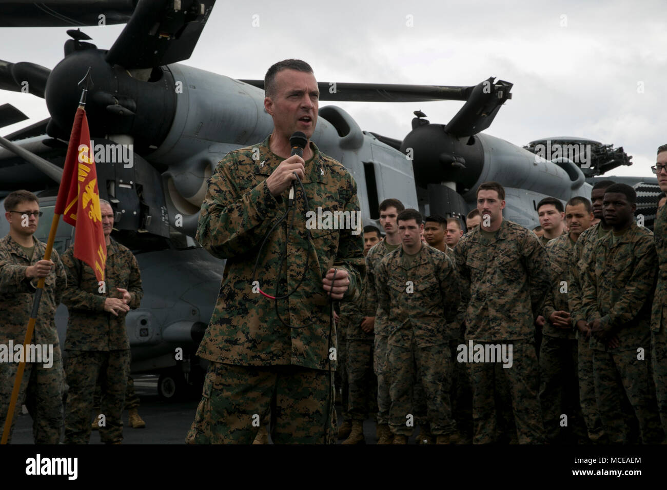 tye r wallace commanding officer of the 31st marine expeditionary unit speaks to marines and sailors during an all hands formation aboard the uss wasp