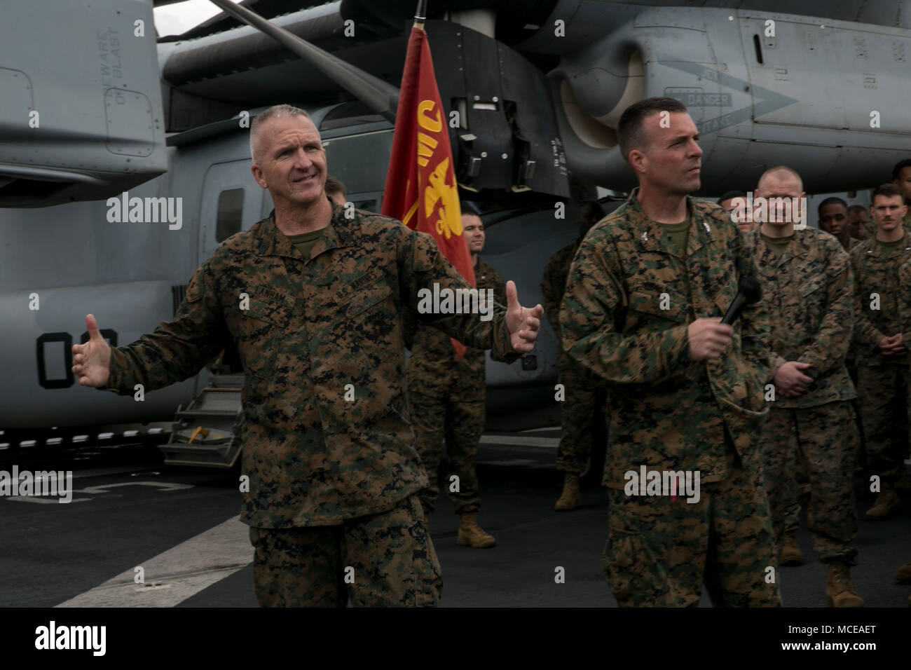 jim lanham sergeant major of the 31st marine expeditionary unit left and col tye r wallace commanding officer of the 31st meu speak to marines and