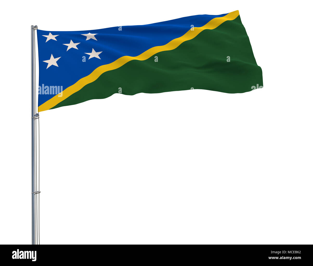 Isolate flag of Solomon Islands on a flagpole fluttering in the wind on a white background, 3d rendering - Stock Image