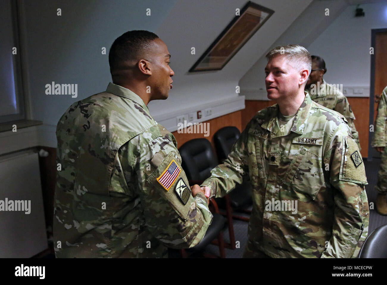 congratulates 1st sgt corrie moore headquarters and headquarters company 2nd theater signal bde on his lateral promotion to first