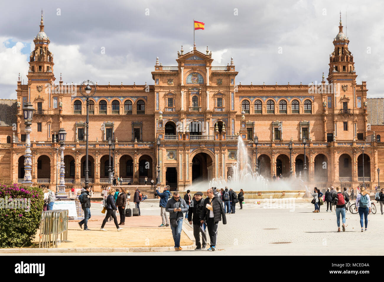 Sevilla, Spain. The Plaza de Espana (Spain Square), a plaza in the Parque de Maria Luisa built in 1928 mixing elements of the Renaissance Revival and  - Stock Image
