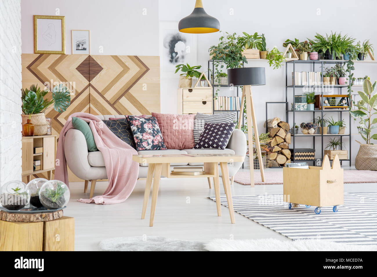 Green, potted plants in bright living room interior with wooden furniture and pillows on the couch - Stock Image