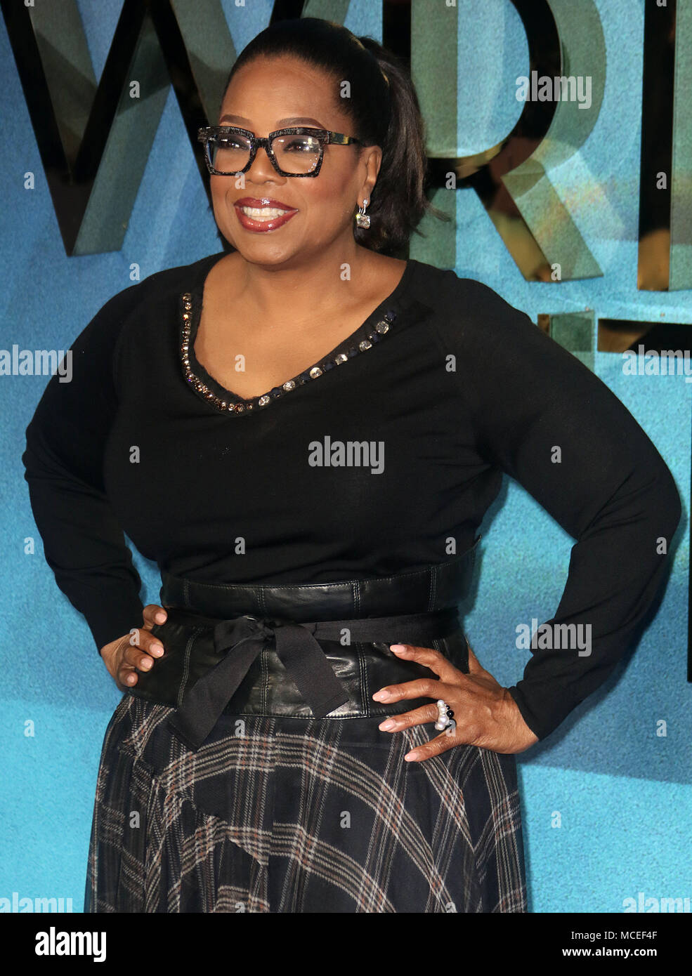 Mar 13, 2018  - Oprah Winfrey attending European Premiere of A Wrinkle in Time, BFI IMAX in London, England, UK - Stock Image