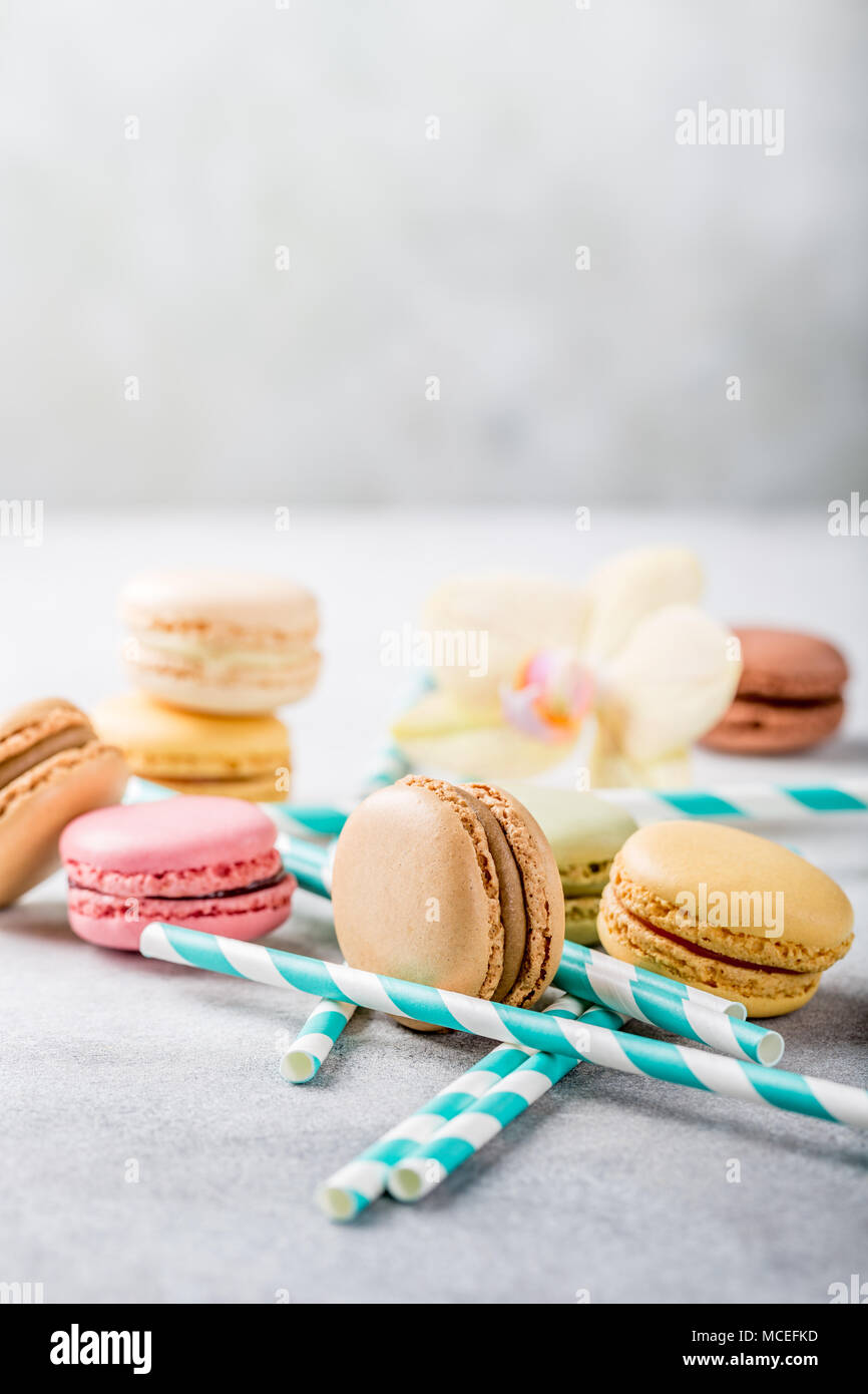 French assorted macarons - Stock Image