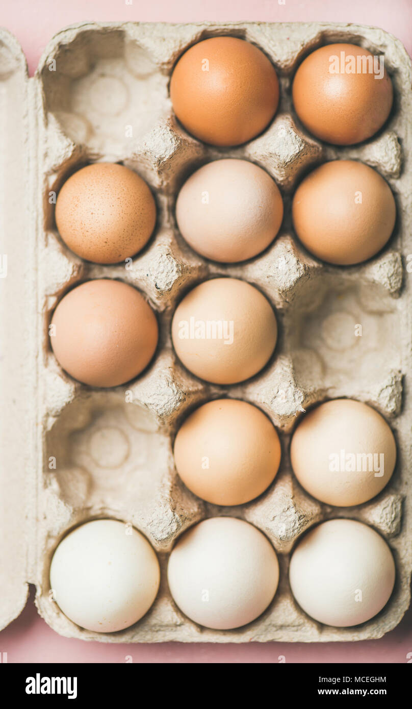 Natural colored eggs for Easter in box - Stock Image