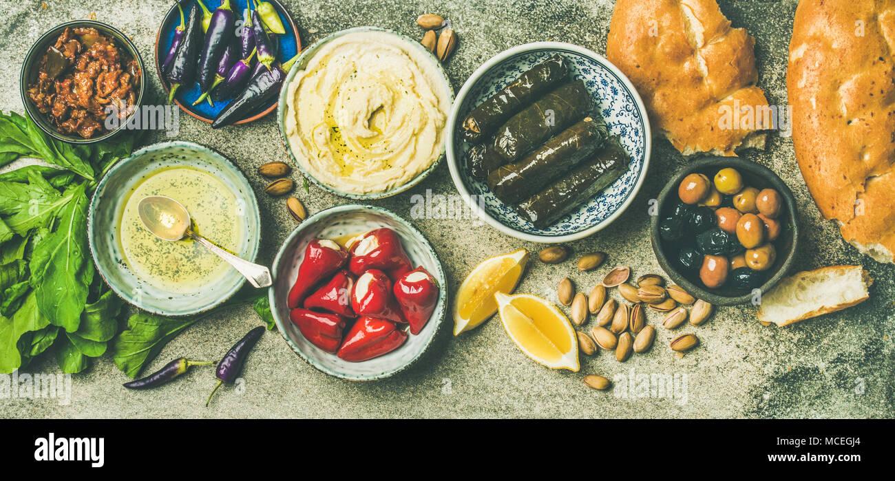 Mediterranean or Middle Eastern meze starter fingerfood platter - Stock Image