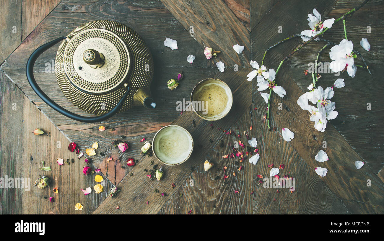Flat-lay of Traditional Asian tea ceremony arrangement, top view - Stock Image