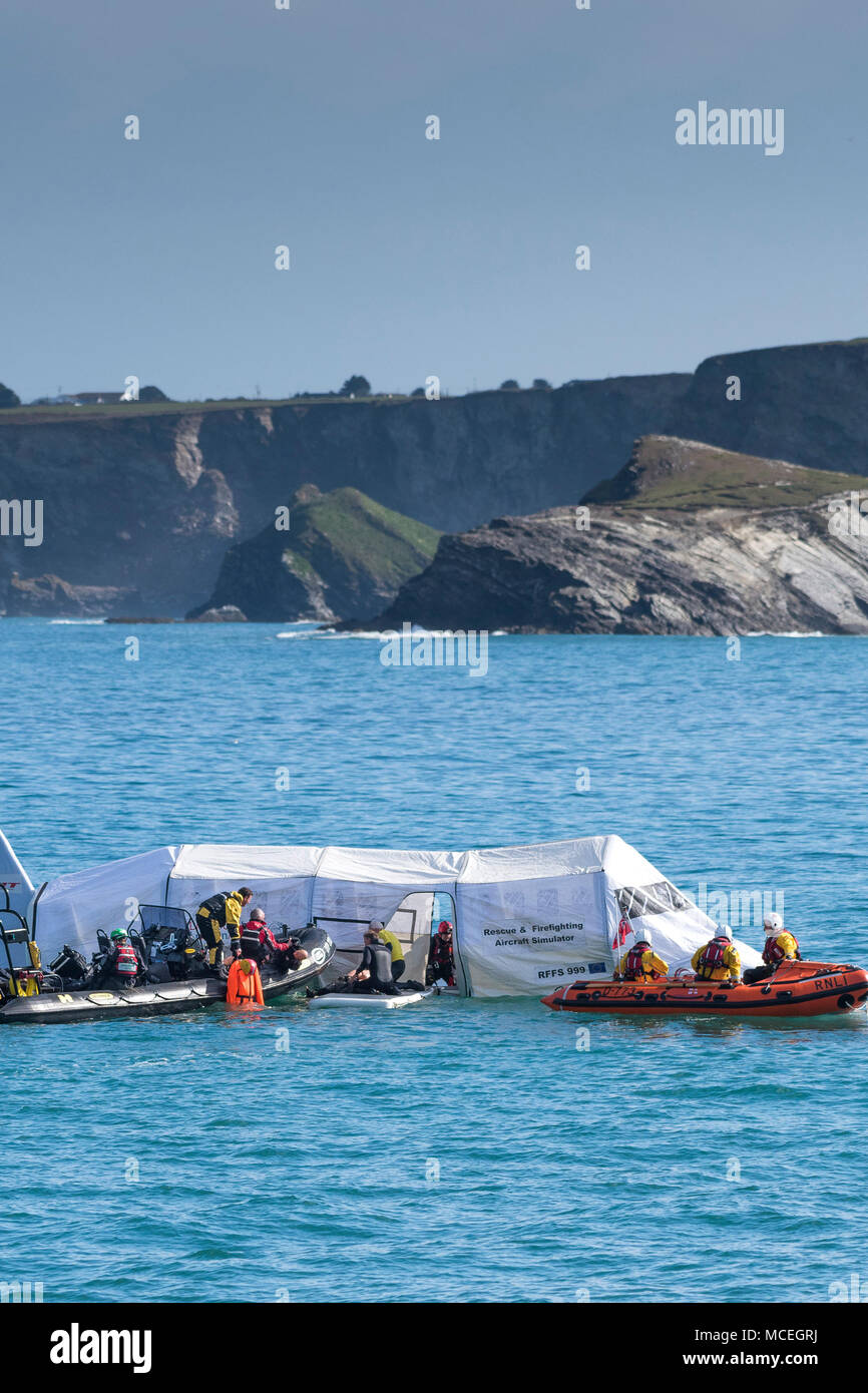 A Rescue and Firefighting Aircraft Simulator used in a GMICE (Good Medicine in Challenging Environments) major incident exercise in Newquay Cornwall. - Stock Image