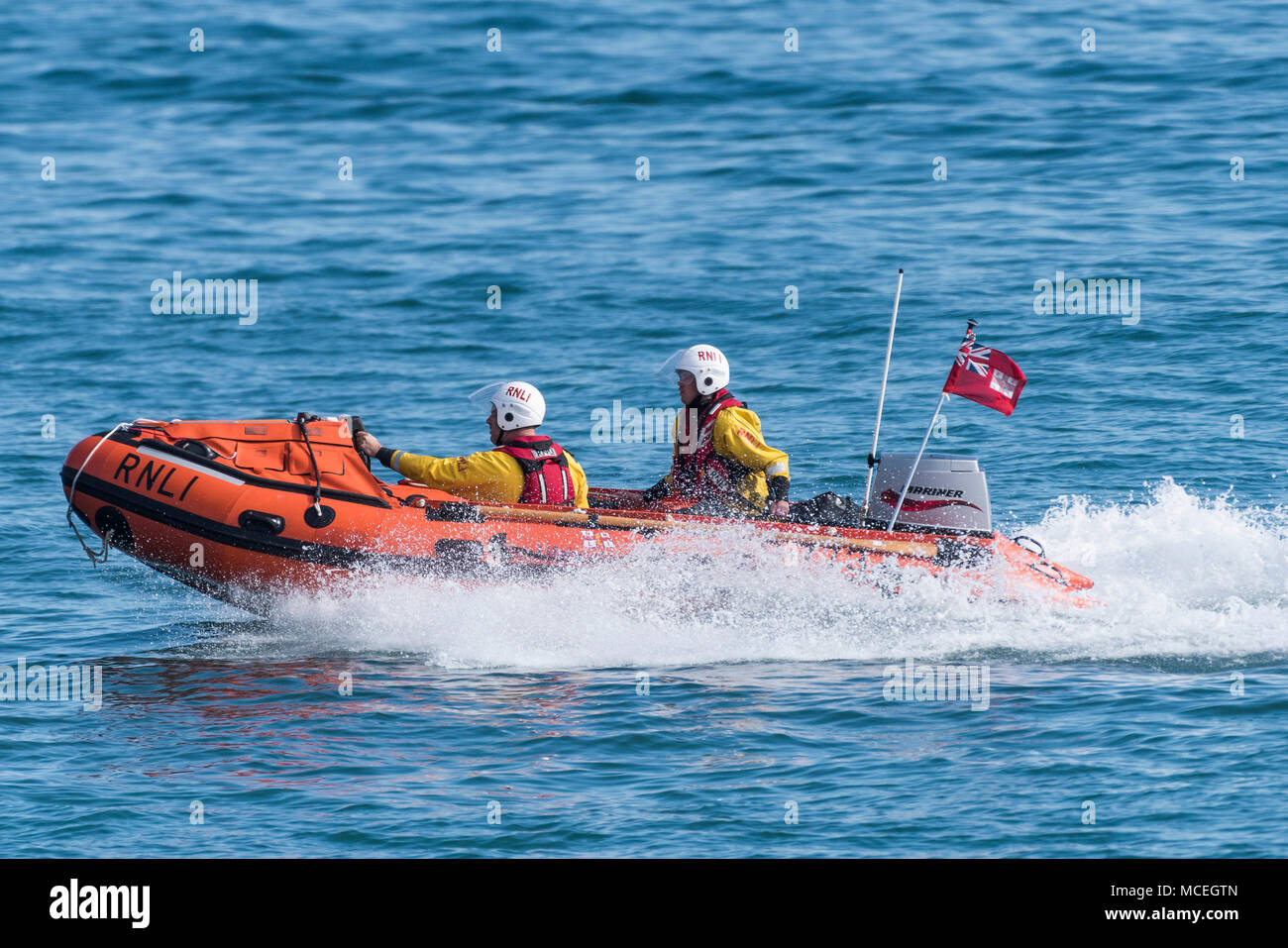 The Newquay Inshore rescue craft and its volunteer crew participating in a GMICE (Good Medicine in Challenging Environments) major incident exercise i - Stock Image